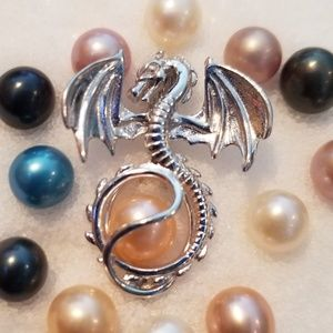 Jewelry - 925 sterling silver dragon pearl cage necklace